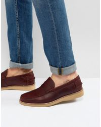 ASOS - Penny Loafers In Burgundy Leather With Wedge Sole - Lyst