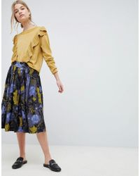 SELECTED - Selecetd Sonja Floral Midi Skirt - Lyst