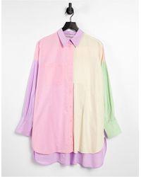 Stradivarius Разноцветная Контрастная Рубашка Из Органического Хлопка В Стиле Oversized -многоцветный - Розовый