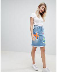 House of Holland Cross Patch Denim Skirt - Blue