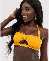 Miss Selfridge Crinkle Bandeau Bikini Top - Yellow