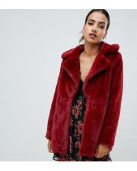 Missguided - Faux Fur Coat In Red - Lyst