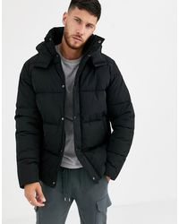 ASOS Sustainable Puffer Jacket With Hood - Black