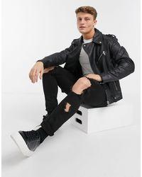 ASOS Leather Biker Jacket - Black
