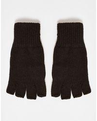 TOPMAN Черные Перчатки Без Пальцев -черный Цвет