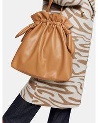TOPSHOP Drawstring Tote Bag - Brown