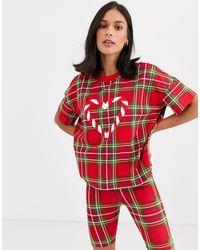 Monki Kerstpyjamaset Met Schotse Ruit En Snoepprint - Rood