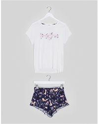 Chelsea Peers Pyjamaset Van T-shirt En Short Met Bosprint - Meerkleurig