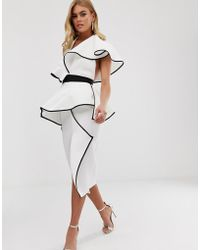 ASOS - Halter Ruffle Peplum Midi Dress With Tipping Detail - Lyst
