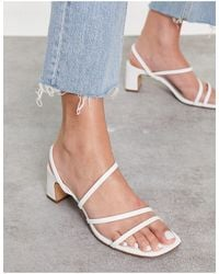 Pull&Bear Strappy Mid Heeled Sandals - White