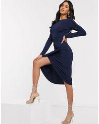 AX Paris Long Sleeve Wrap Skirt Dress - Blue