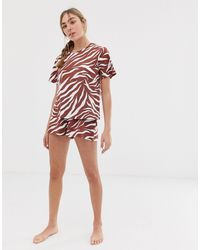 ASOS Zebra Pajama Short Set - Brown