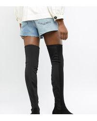 ASOS Wide Leg Kelby Flat Elastic Thigh High Boots - Black