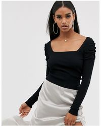 ASOS Square Neck Sweater With Volume Sleeve - Black
