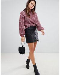 Blank NYC Leather Effect Mini Skirt - Black
