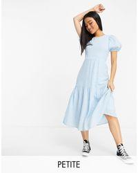 Vero Moda Midi Tea Dress In Blue