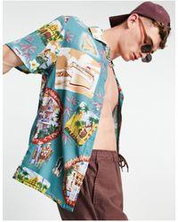 Liquor N Poker Tennis Club - Camicia multicolore con stampa cubana rétro - Blu