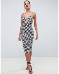 ASOS - U Bar Bodycon Midi Dress In Mono Print - Lyst