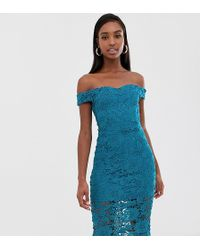 Missguided Lace Midi Bardot Dress With In Teal - Blue