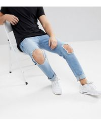 Brooklyn Supply Co. Light Wash Skinny Jeans With Hem Detail And Knee Rip - Blue