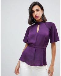River Island - Blouse With Key Hole Detail In Purple - Lyst