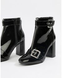 Miss Selfridge - Patent Heeled Boots With Buckle Detail In Black - Lyst