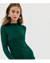 Warehouse - Ribbed High Neck Top With Lettuce Hem In Green - Lyst