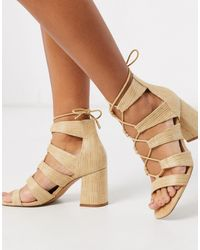 Stradivarius Raffia Lace Up Sandal - Natural