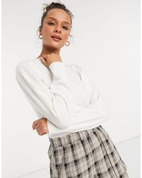 ASOS Volume Sleeve Sweater With Ruched Waist - White
