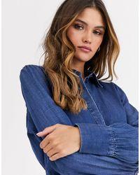 Vero Moda Aware - Chemise en jean à manches bouffantes - Bleu
