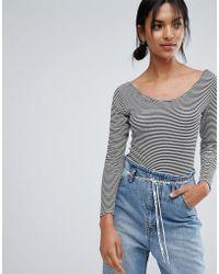 Daisy Street - Stripe Bodysuit With Ribbon Tie Back - Lyst