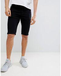 Mennace Skinny Denim Shorts In Black