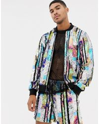 ASOS - Co-ord Sequin Bomber Jacket With Mesh Stripe - Lyst