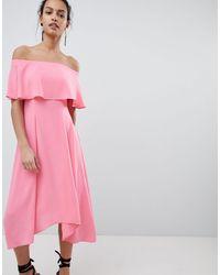 Coast Bonnie Bardot Midi Dress - Pink