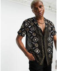 ASOS Camicia comoda trasparente con rever e ricamo metallizzato - Nero