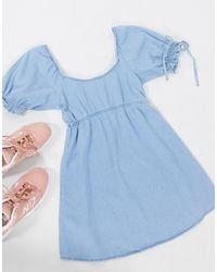 Miss Selfridge - – es Mini-Jeanskleid im Milchmädchenstil - Lyst