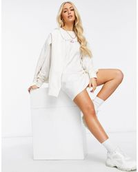 The Couture Club Archive Logo Oversized Long Sleeve T-shirt Dress - White