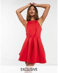 True Violet Vestido corto skater rojo con espalda al aire exclusivo