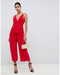 52d94b664a16 ASOS - Jumpsuit With Tie Front And Wide Leg - Lyst