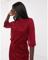 Oasis Lace Midi Dress - Red