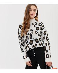 Pimkie Jersey con cuello vuelto y estampado de leopardo de - Multicolor