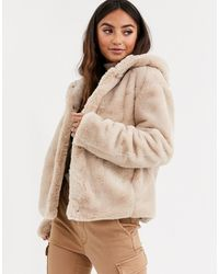 Pimkie Faux Fur Hooded Jacket In Beige - Natural