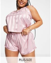 Missguided Stripe Cami And Shorts Pyjama Set - Pink