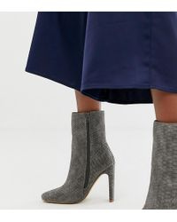 Missguided - Square Toe High Heeled Ankle Boot In Grey Snake - Lyst