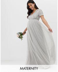 Maya Maternity Bridesmaid V Neck Maxi Tulle Dress With Tonal Delicate Sequins - Grey