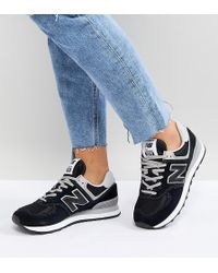 New Balance - 574 Suede Trainers In Black - Lyst