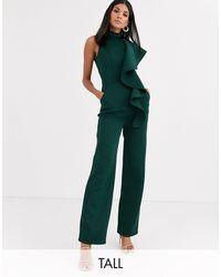 Chi Chi London High Neck Ruffle Jumpsuit - Green