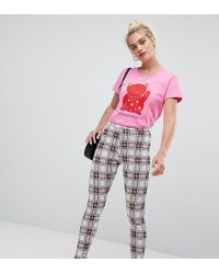 Daisy Street - High Waist Slim Trousers In Check - Lyst