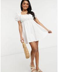 Y.A.S Petite - Белое Платье Мини С Присборенной Юбкой Y.a.s. Petite-белый - Lyst
