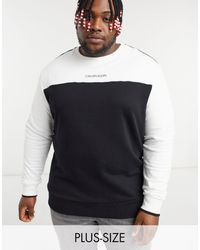 Calvin Klein Черно-белый Свитшот В Стиле Колор Блок С Логотипом Посередине Big & Tall